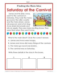 1st or 2nd Grade Main Idea Worksheet About Carnivals | Reading ...