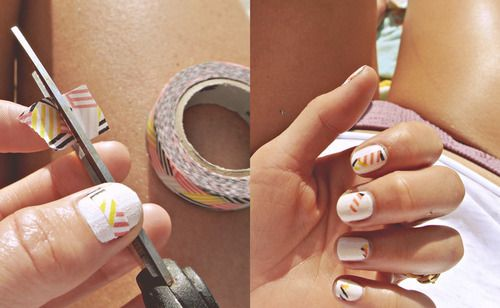 Washi tape nails, aka super easy nail art.