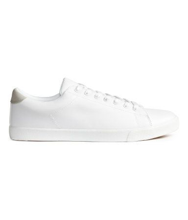 White. Sneakers with a lightly padded edge and tongue