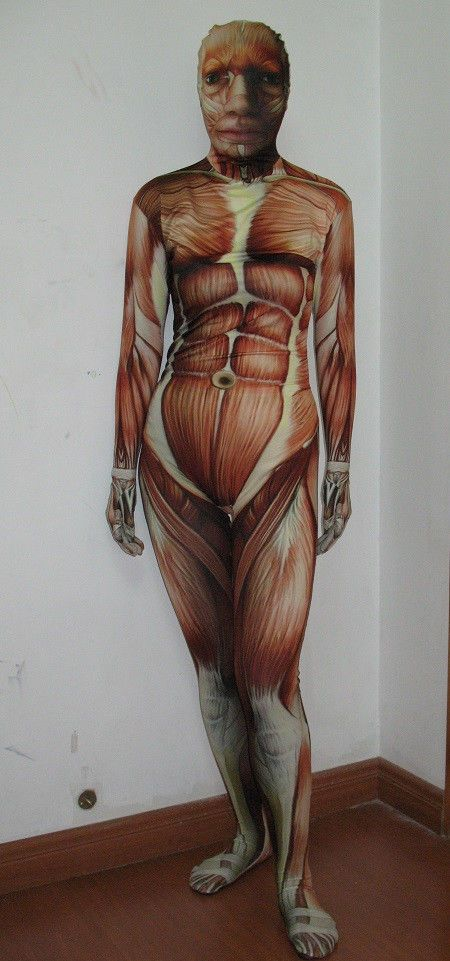 Muscle Muscles Zentai Full Body Suit Spandex Lycra Skin Tight