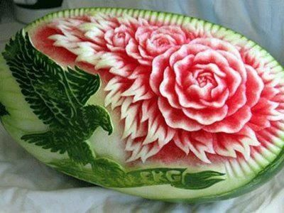 Carved watermelon via PostCron