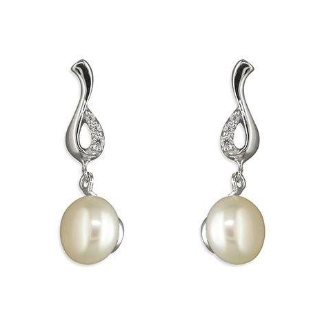 Sterling Silver, CZ Loop & Freshwater Pearl Drop Earrings
