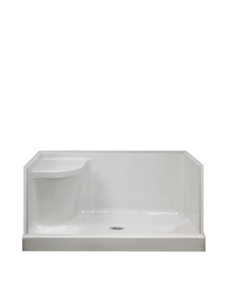 Ellis 48 Inch W Acrylic Shower Base With Seat Right Hand In White