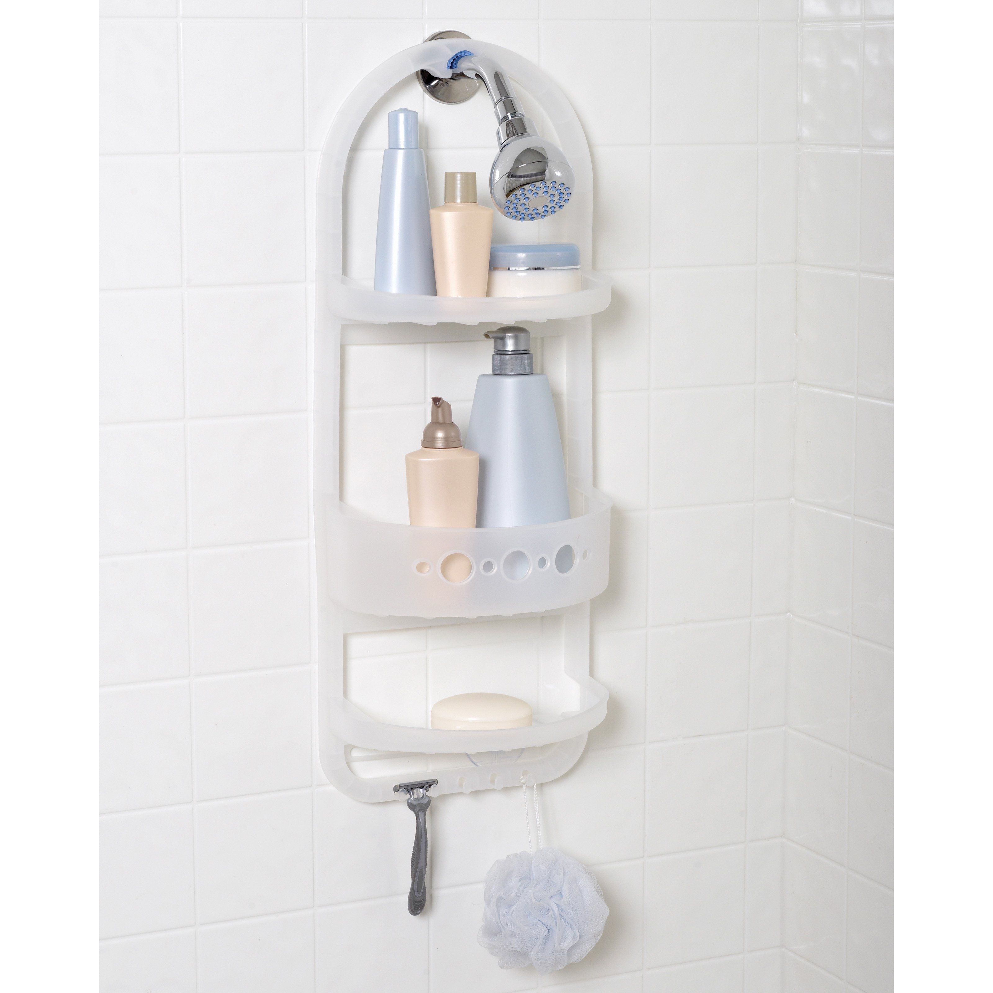 White Plastic Hanging Shower Caddy | Bathroom Utensils | Pinterest ...