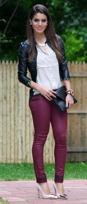 Plum pants make this outfit! love it all!