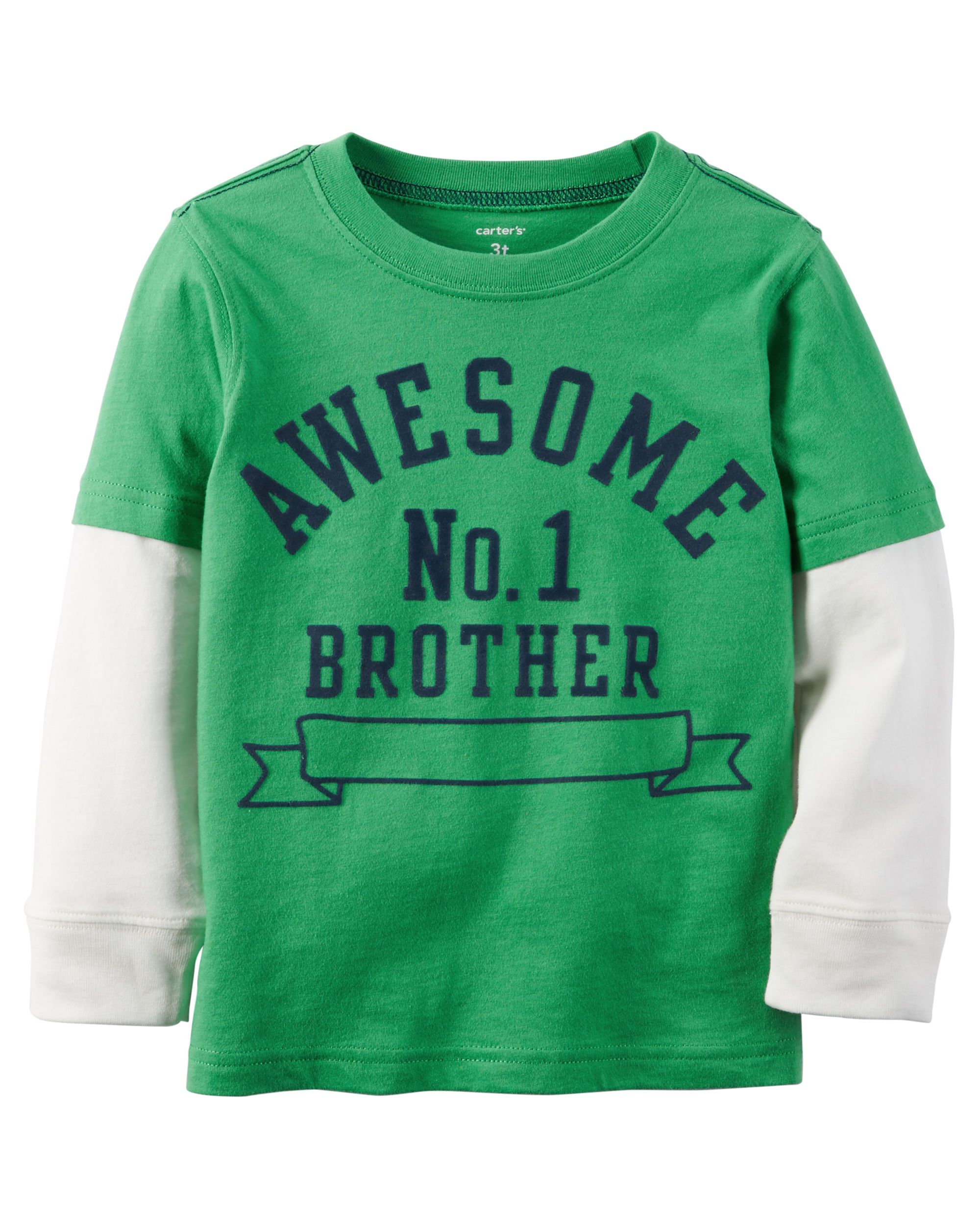 6a009bea Baby Boy Long-Sleeve Layered-Look Flocked Awesome Brother Graphic Tee    Carters.com