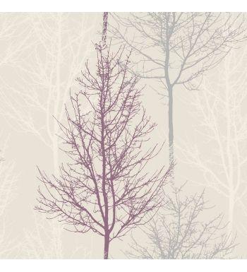 papel pintado arboles estilo nordico morado y gris fondo claro 40774