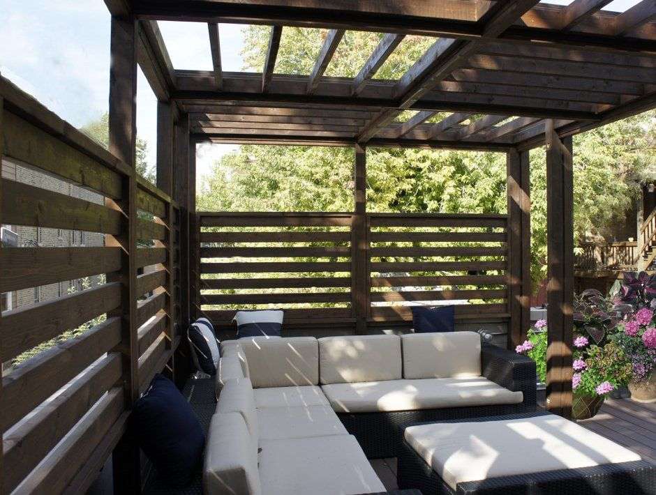 Garage Roof Deck Steel Pergola With Kona Stain