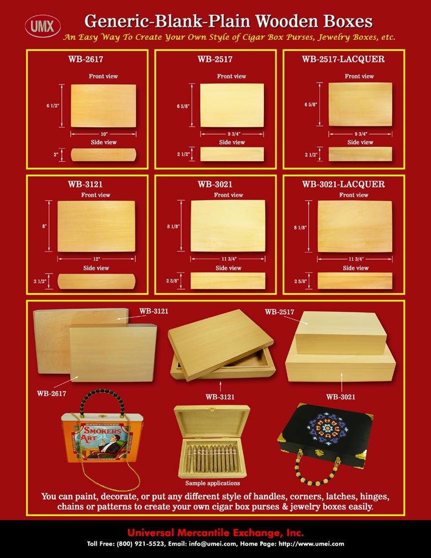 Generic Blank Plain Cigar Box Purses Wood Boxes Jewelry Boxes