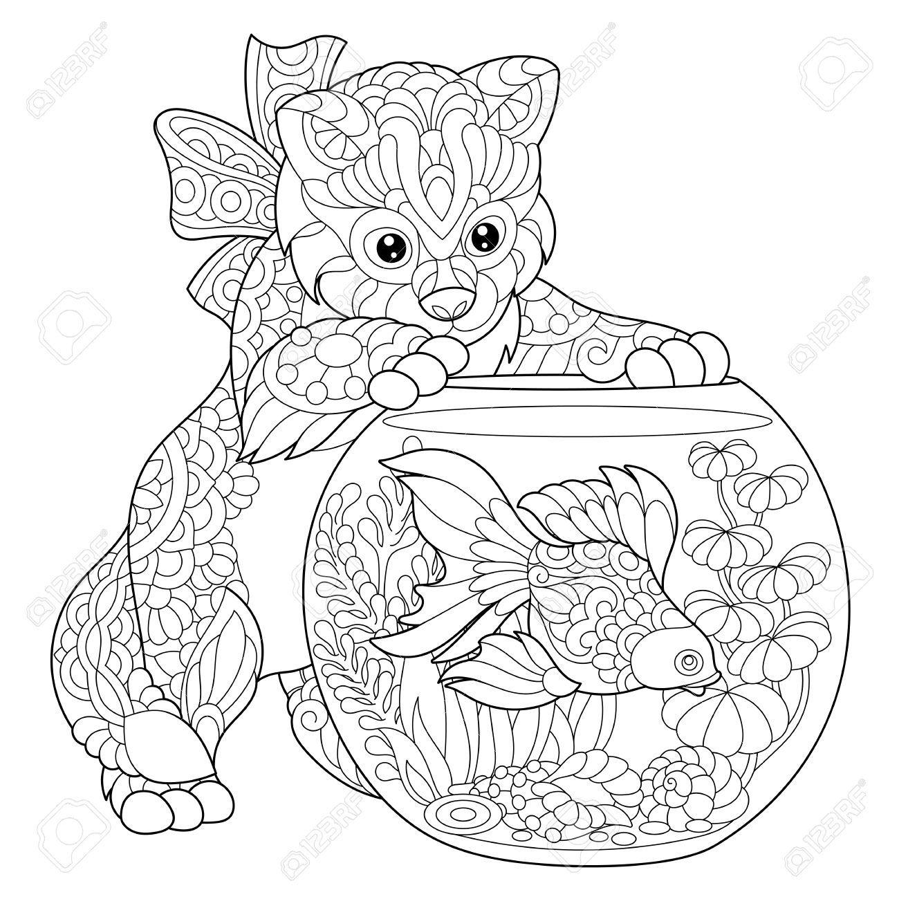 Kleurplaat Van Kitten Af Over Goudvis In Het Aquarium Schets Uit De Vrije Hand Tekenen Voor Volwassen Antistress Kleurboek Met Doodle En Zentangle Elementen Mandala Kleurplaten Gratis Kleurplaten Kleurboek