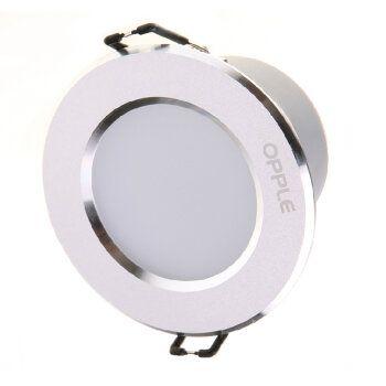 欧普灯具LED筒灯天花灯防雾超薄7W3寸开孔9cm-10cm(明月) 砂银款-暖白光