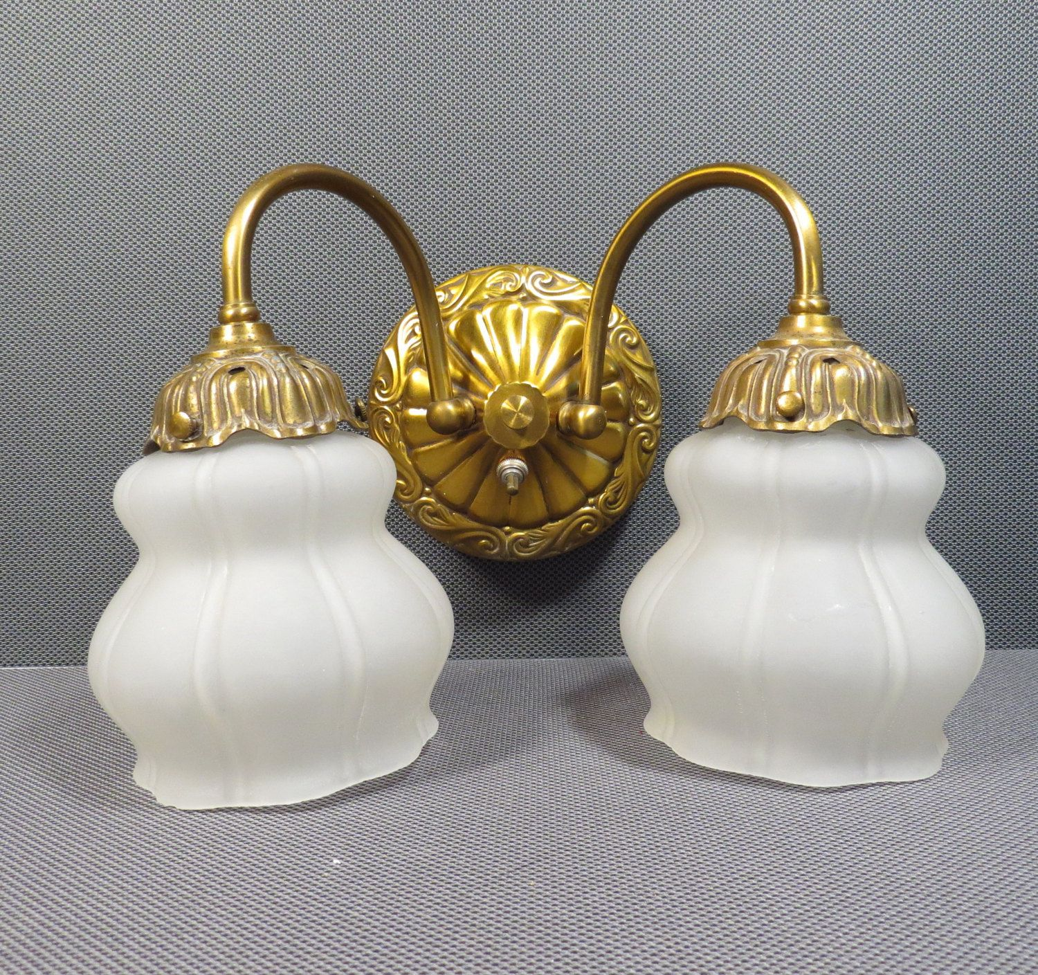 Double Wall Sconce Vintage 1940s 1950s Gold Metal Frosted Etsy Shabby Chic Wall Lights Double Wall Sconce Wall Sconces