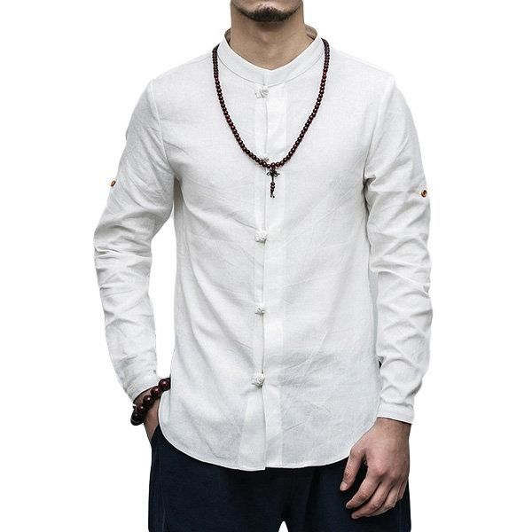 1dd0d7ee8 Stand Collar Foldable Sleeve Linen Loose Chinese Style Shirt for Men ...