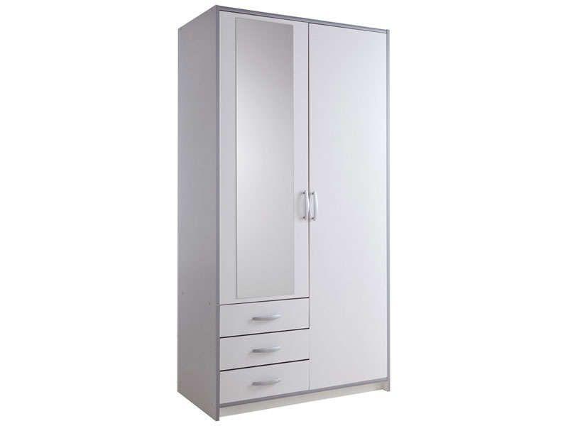 Amazing Armoire 2 Portes 3 Tiroirs MARS Coloris Blanc/gris   Vente De Armoire    Conforama