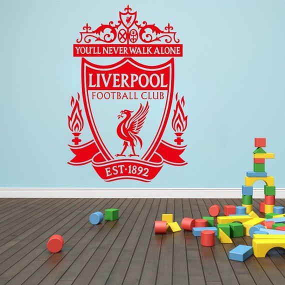 Vinyl Wall Decal   Liverpool Soccer Football Team Logo Wall Sticker School  Sports Wall Decals For