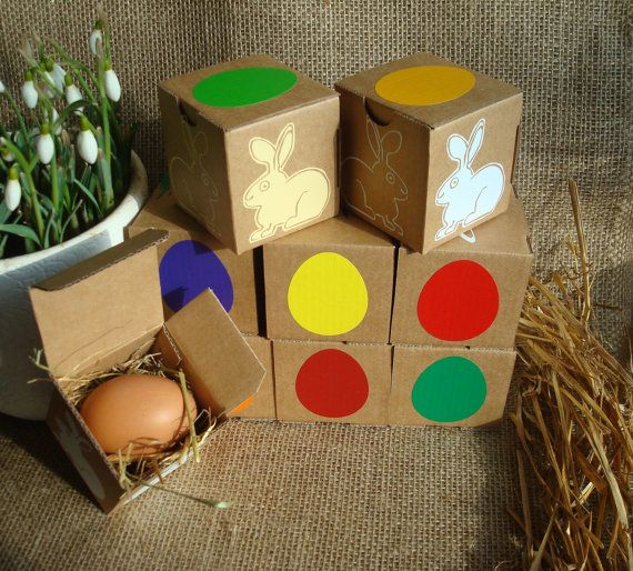 Set of 9 square cardboard easter gift boxes decorated with eggs set of 9 square cardboard easter gift boxes decorated with eggs and easter bunny small negle Gallery