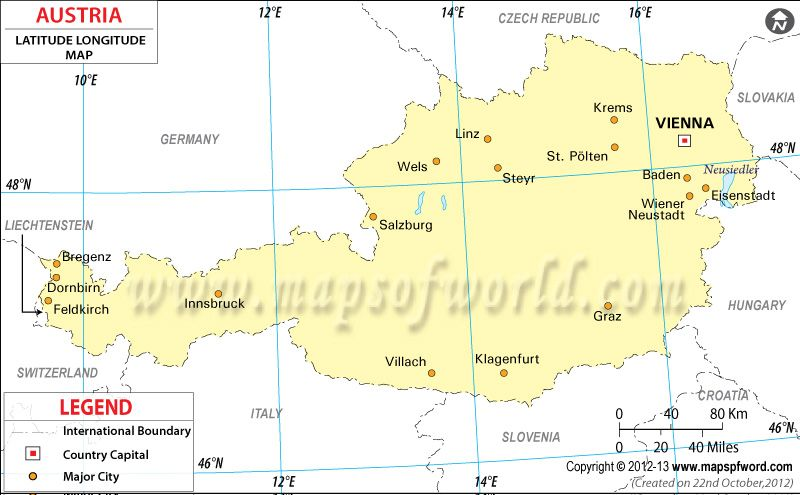 Austria Latitude And Longitude Map Latitude And Longitude Map
