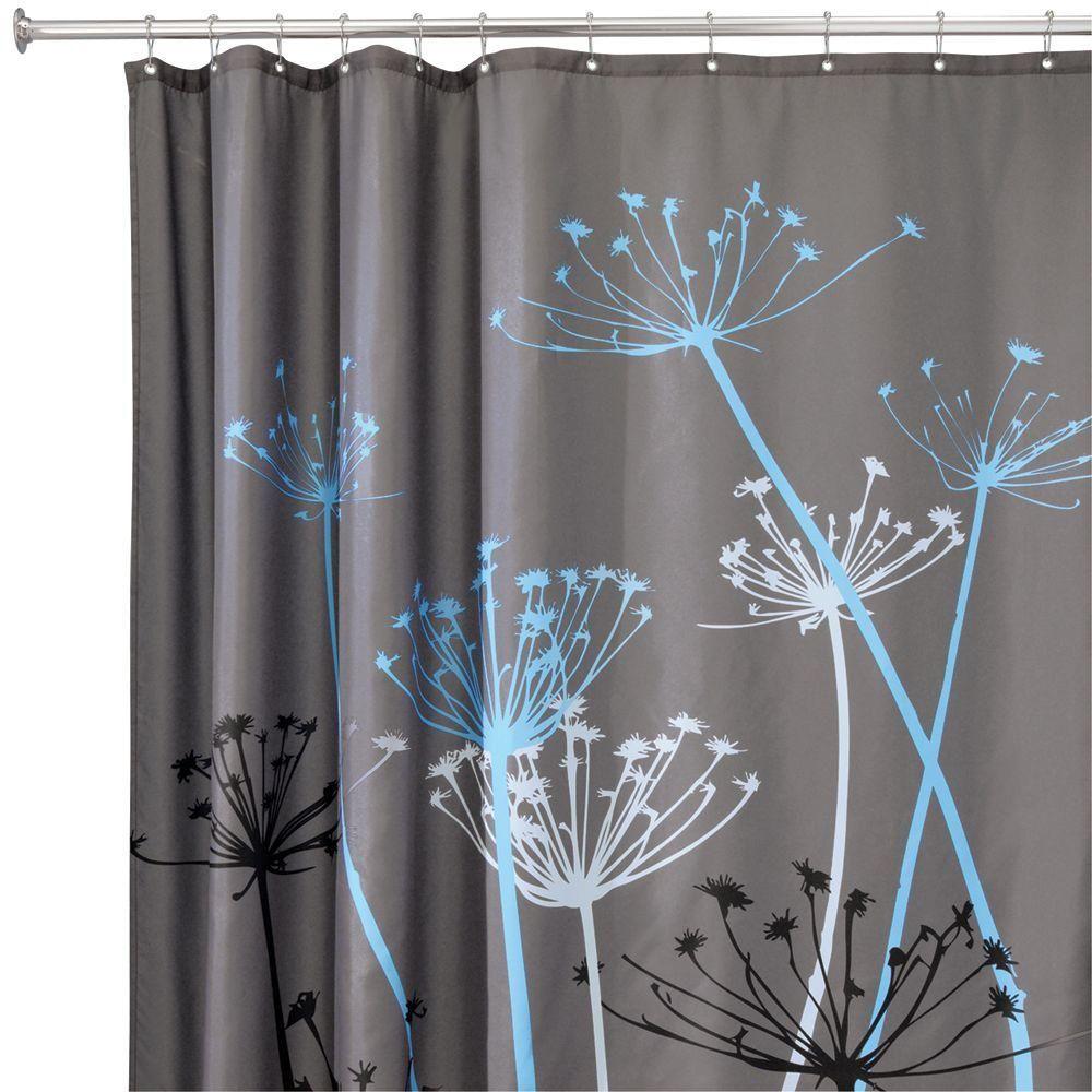 Interdesign Thistle 72 In X 72 In Shower Curtain In Gray Blue