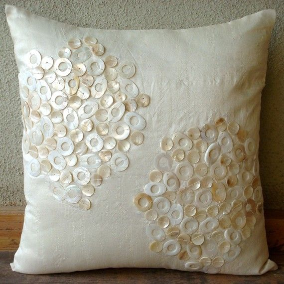 Decorative Throw Pillow Covers Accent Couch Sofa 20x20 Inches Ivory Silk  Pillow Cover Embroidered Mother Of Pearl Pearl Drops Home Decor