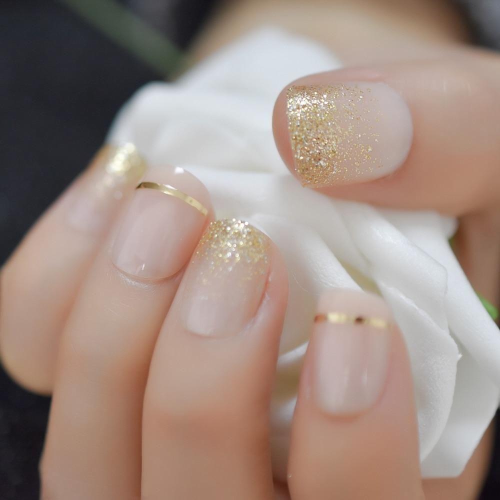 Nude Gold Glitter Short Faux Nails – Fake Nail Store