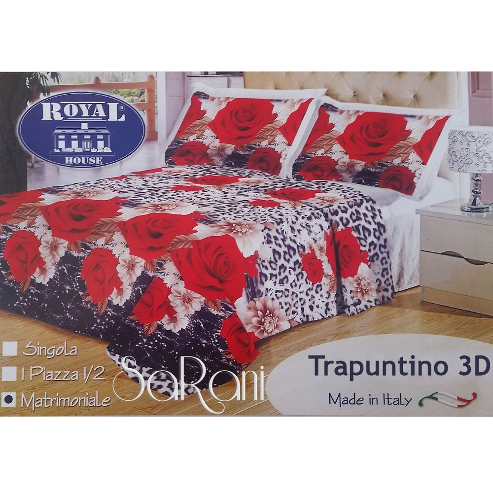 Piumone Matrimoniale Leopardato.Trapunta Invernale Piumone Moderno Double Face Rose Rosse