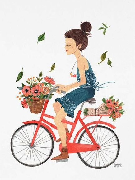 Girl On Bike By Oana Befort A R T In 2019 Bicycle Illustration