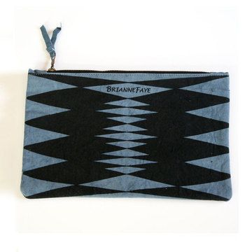 Artwork Clutch Diamond Denim  briannefaye