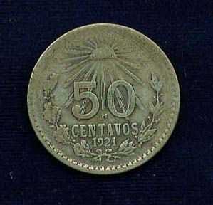 1921 50 centavos old silver mexican coin by