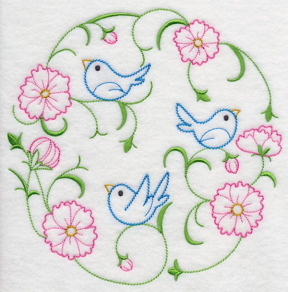 Bluebirds in the Cosmos (Vintage)   A Emb. Mandalas, Dot Rangoli ...