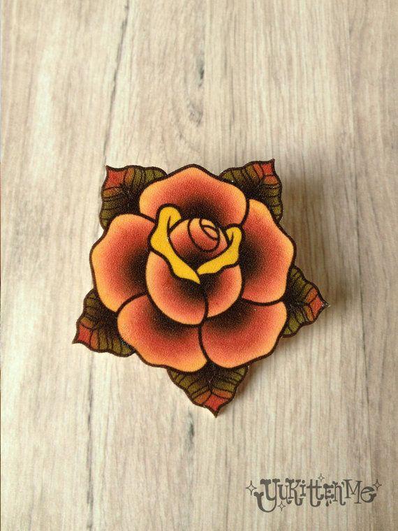 Traditional Rose Tattoo Brooch Etsy Traditional Rose Tattoos Traditional Tattoo Flowers Old School Rose