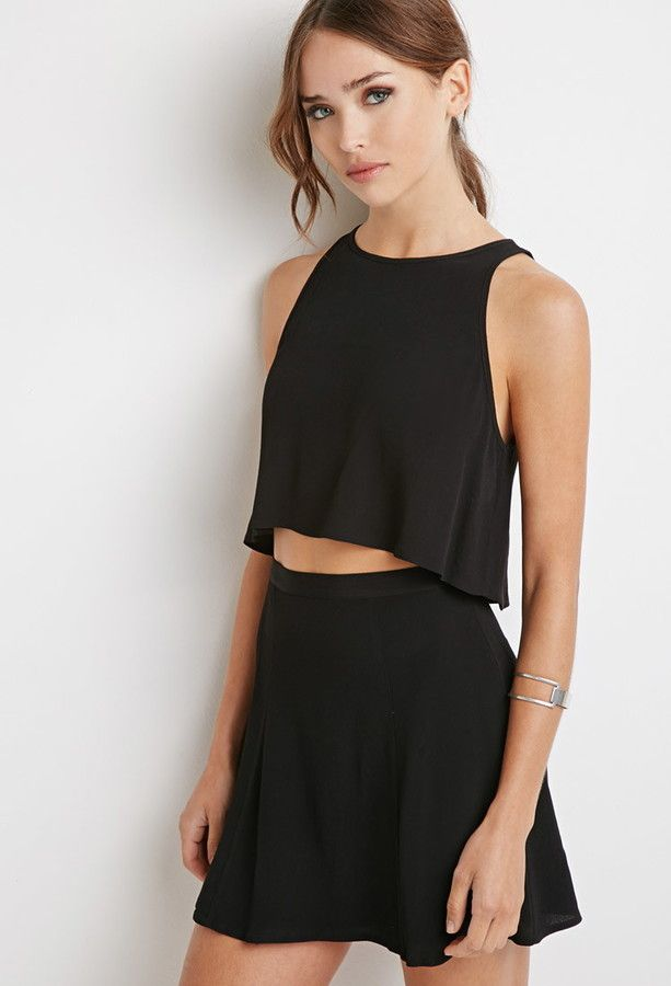 6ec7120f592 Forever 21 crepe crop top and skirt set on ShopStyle | outfits in ...