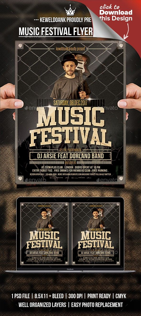 Muasic Festival Flyer Poster Flyer Template Template And Fonts