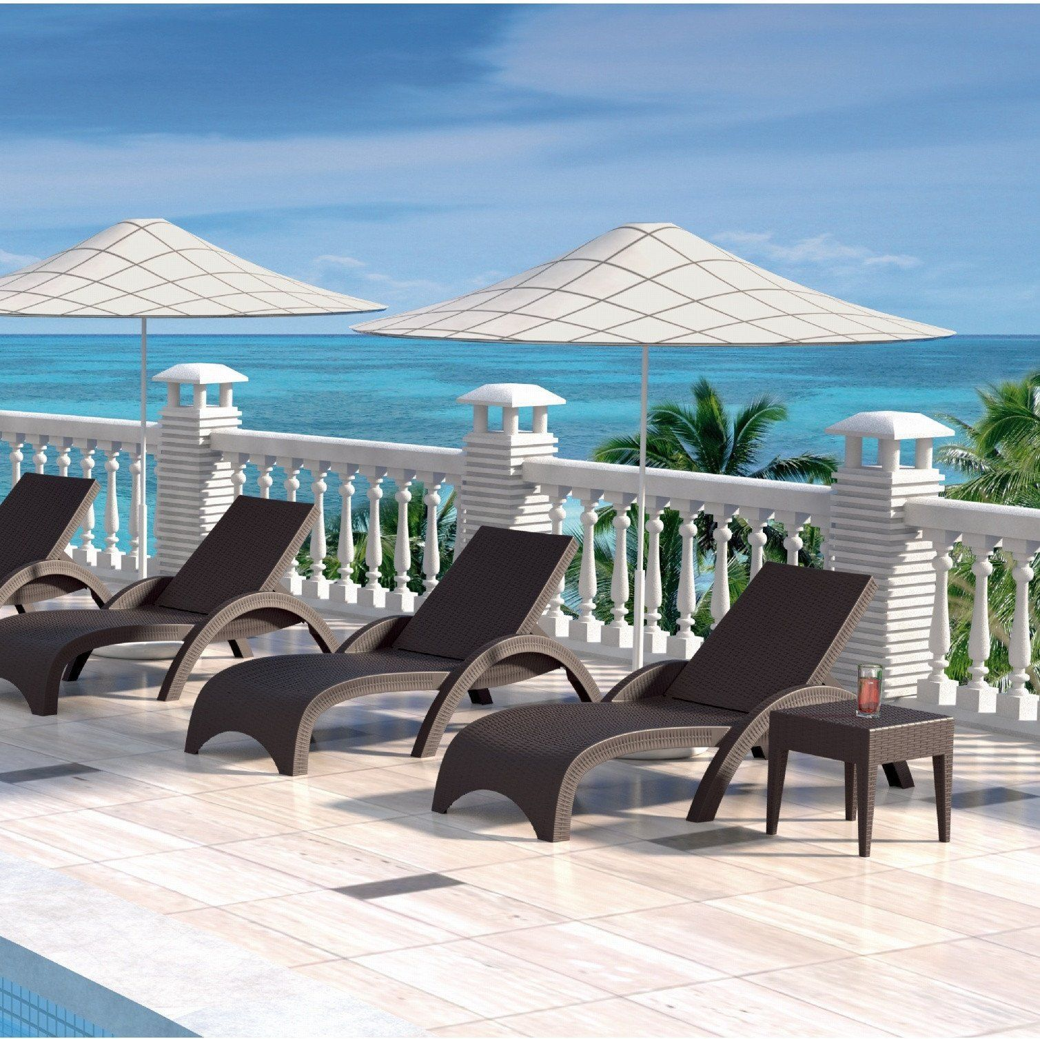 Compamia miami resin wickerlook chaise lounge description compamia miami wickerlook outdoor chaise lounge stackable wickerlook resin is a natural looking