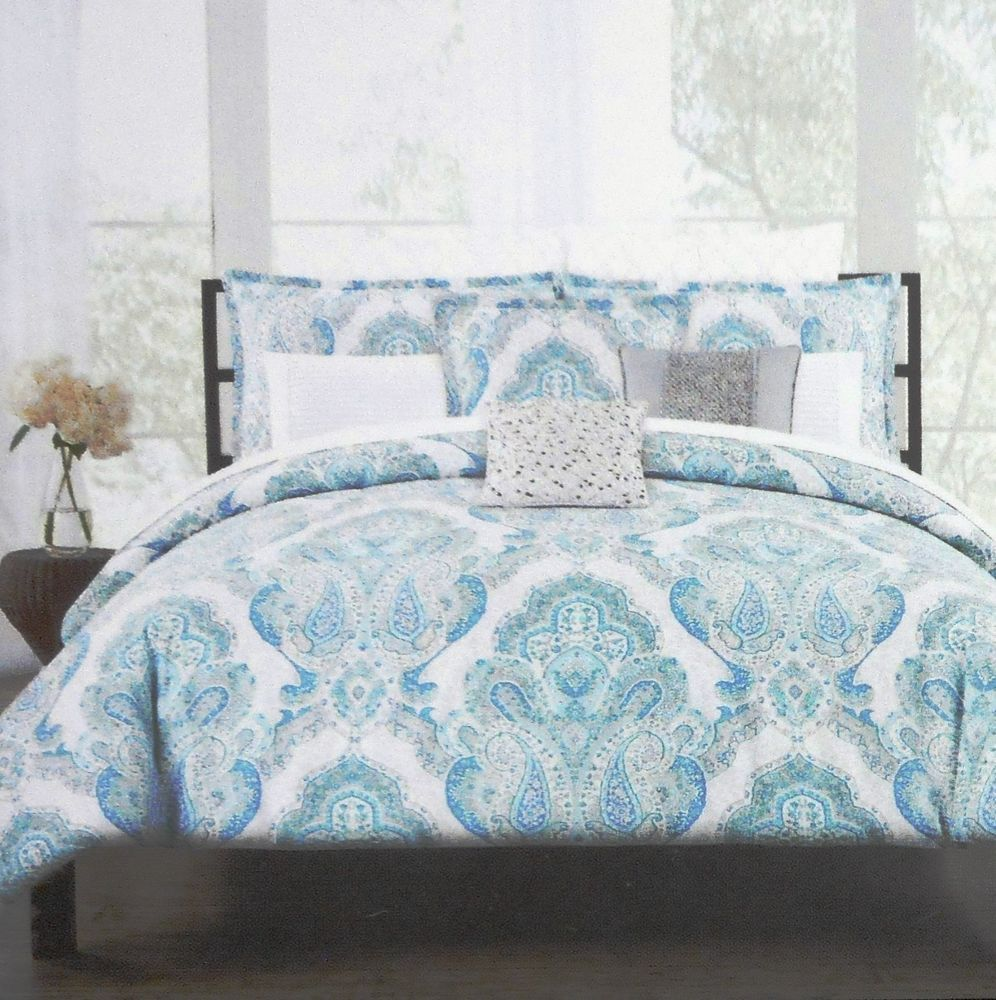 Tahari Paisley Floral Queen Duvet Cover Set 300tc Cotton Blue Gray