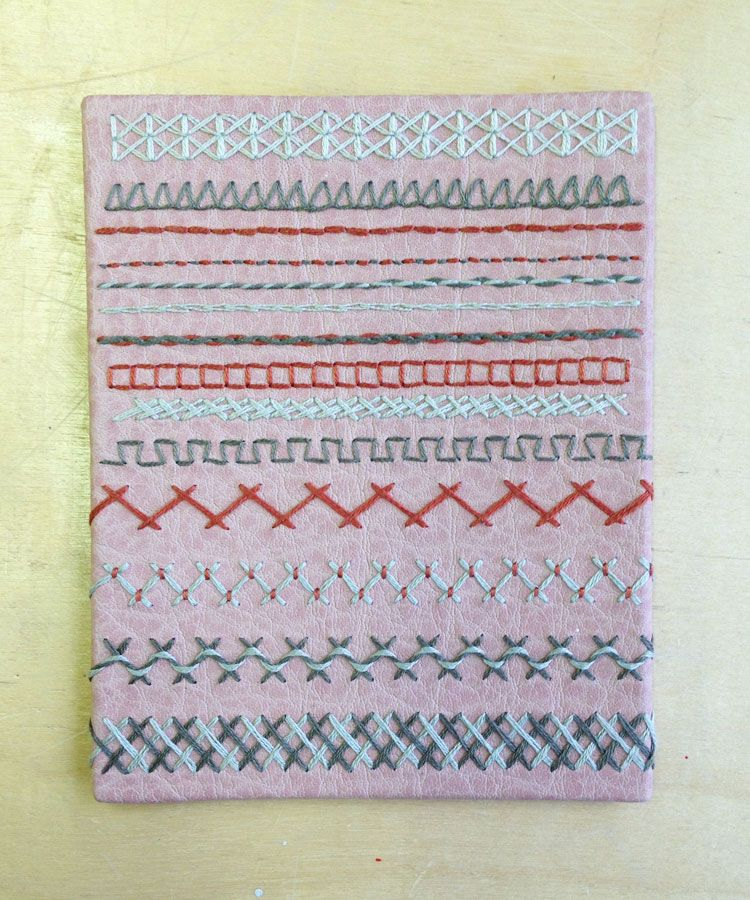 Variety Of Stitches Sampler On Leather Erin Fletcher