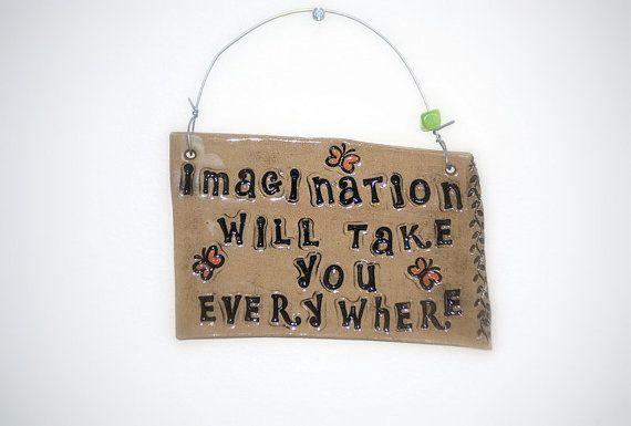 Wall art  EINSTEIN quote imagination   handmade by claylicious, $22.00