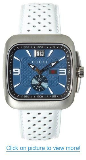 b92d7bbe43c Gucci Men s YA131304 Gucci Coupe Blue Black Dial White Leather Watch ...