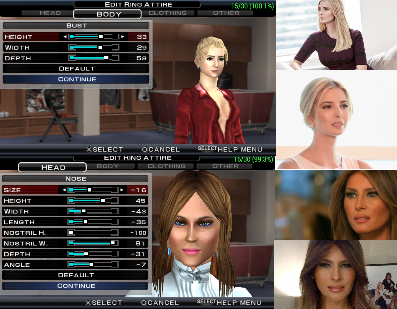 On an old WWE video game I tried to recreate Melania and Ivanka Trump. How