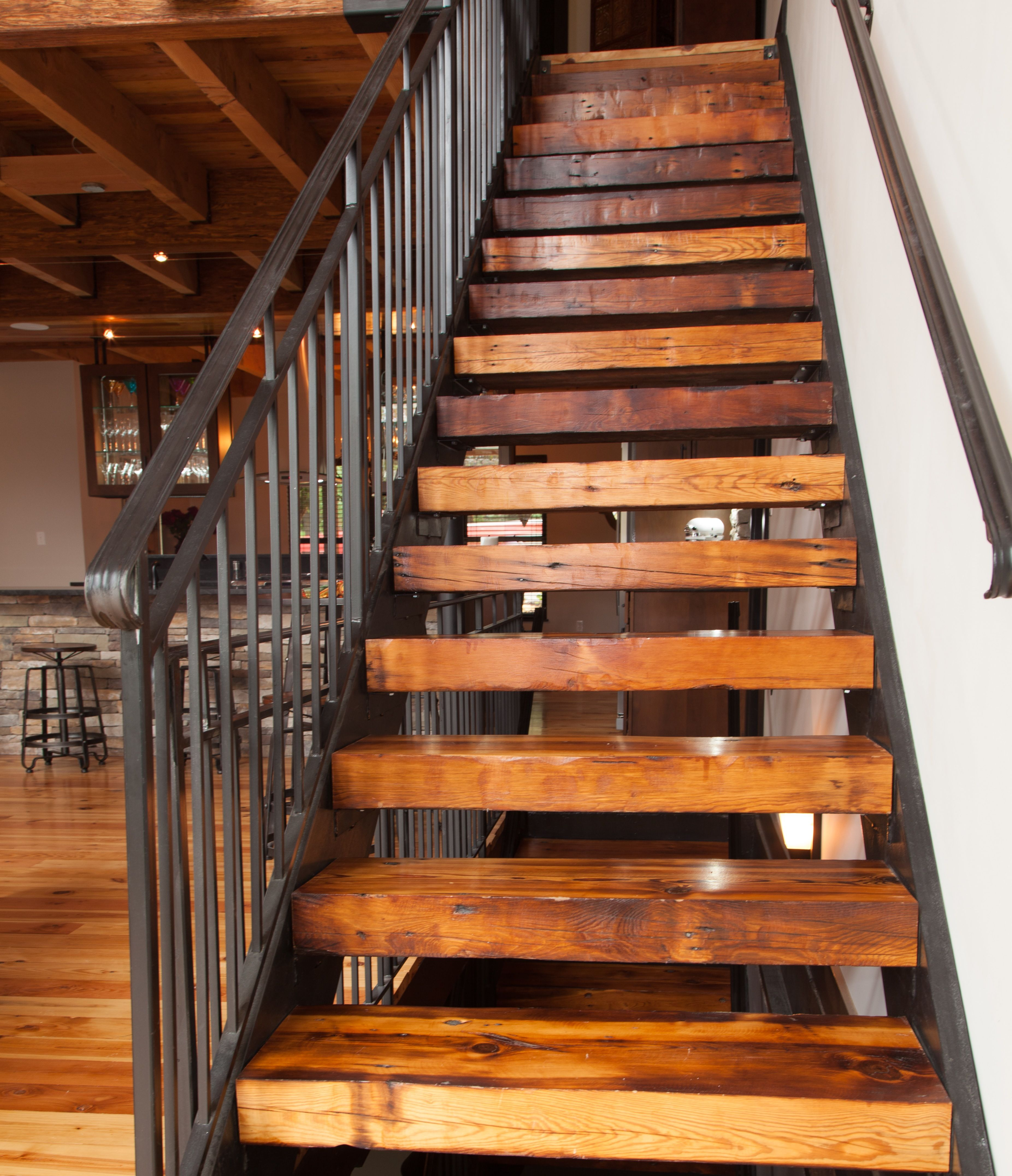 Wooden Staircases: Stairs To Loft: Wrought Iron Railing, Repurposed Beams