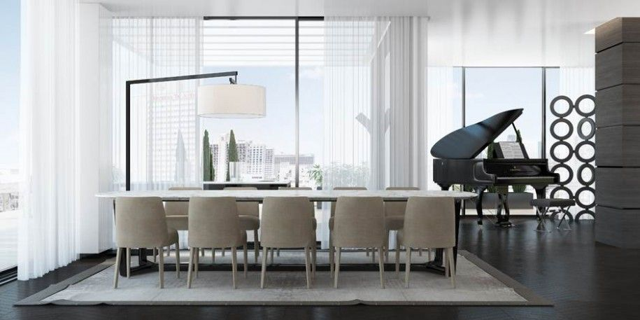 modern-formal-dining-room-sets-with-elegant-piano-and-square-carpet