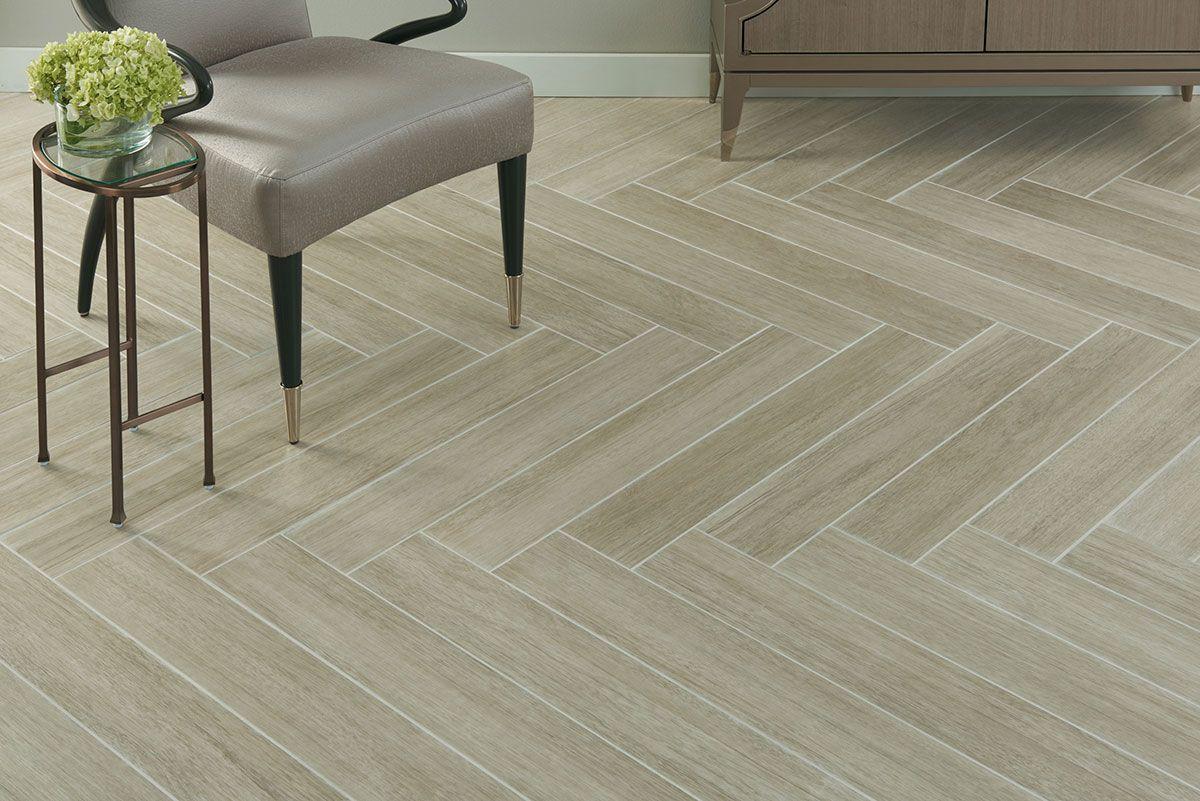 Crossville Nest Mindful Olive 6x36 Herringbone Wood Wood Look Tile Floor Wooden Tile