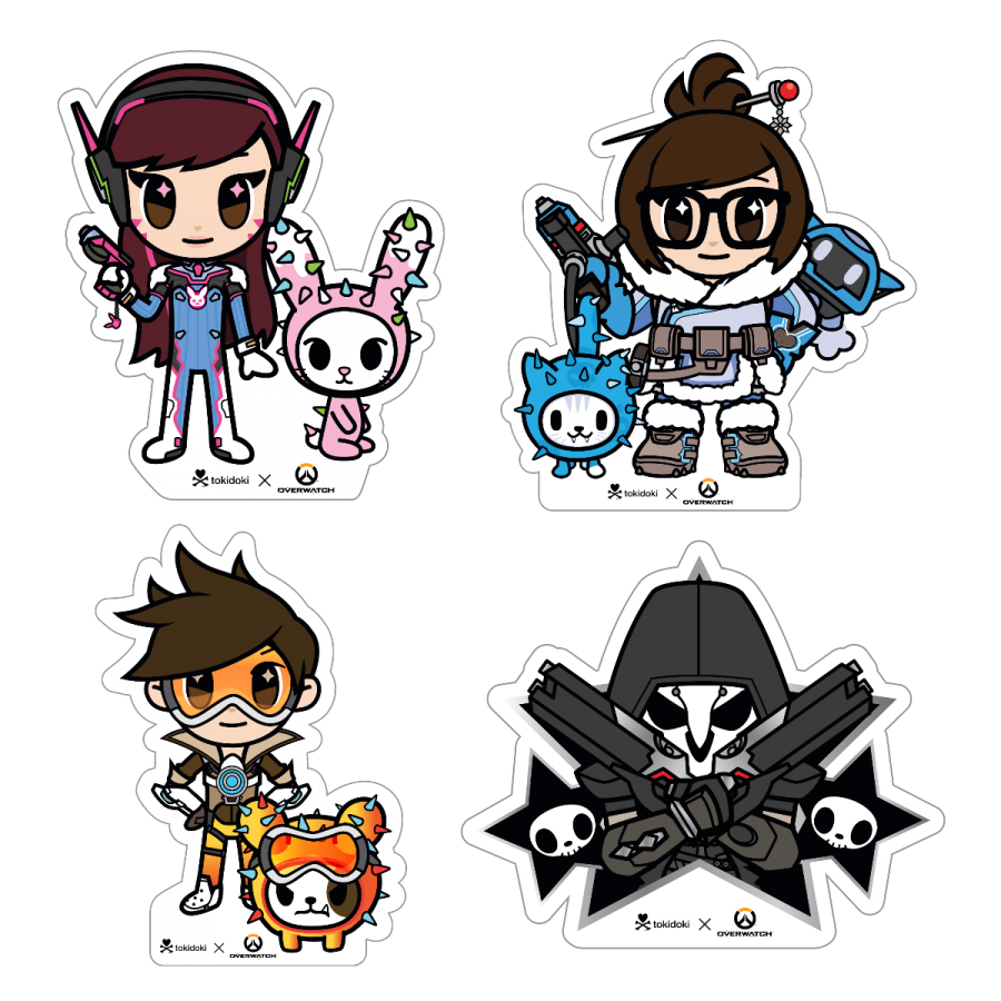 tokidoki x Overwatch Stickers (Pack of 4) Blizzard Gear
