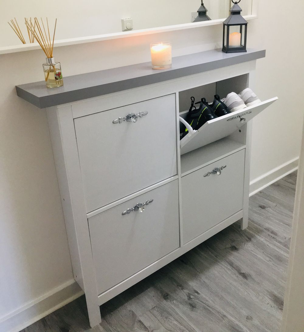 One Mrs Hinch fan gets the look with clever hallway storage unit hack - Hallway storage, Storage, Diy furniture hacks, Bathroom storage cabinet, Diy storage unit, Diy home cleaning - Fans are inspired to get 'The Hinch Look' in their own homes  One savvy shopper gets the glam look on a budget, with clever hallway storage unit hack