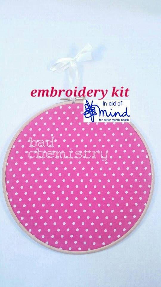 """Pink """"Bad Chemistry"""" Embroidery Cross Stitch KIT 8"""" hanging mental health charity awareness gift"""