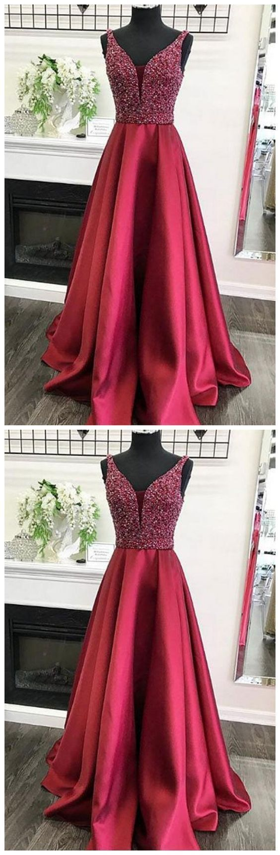 Beaded A-line Long Prom Dress School Dance Dress Fashion Winter Formal Dress YDP0367 #schooldancedresses