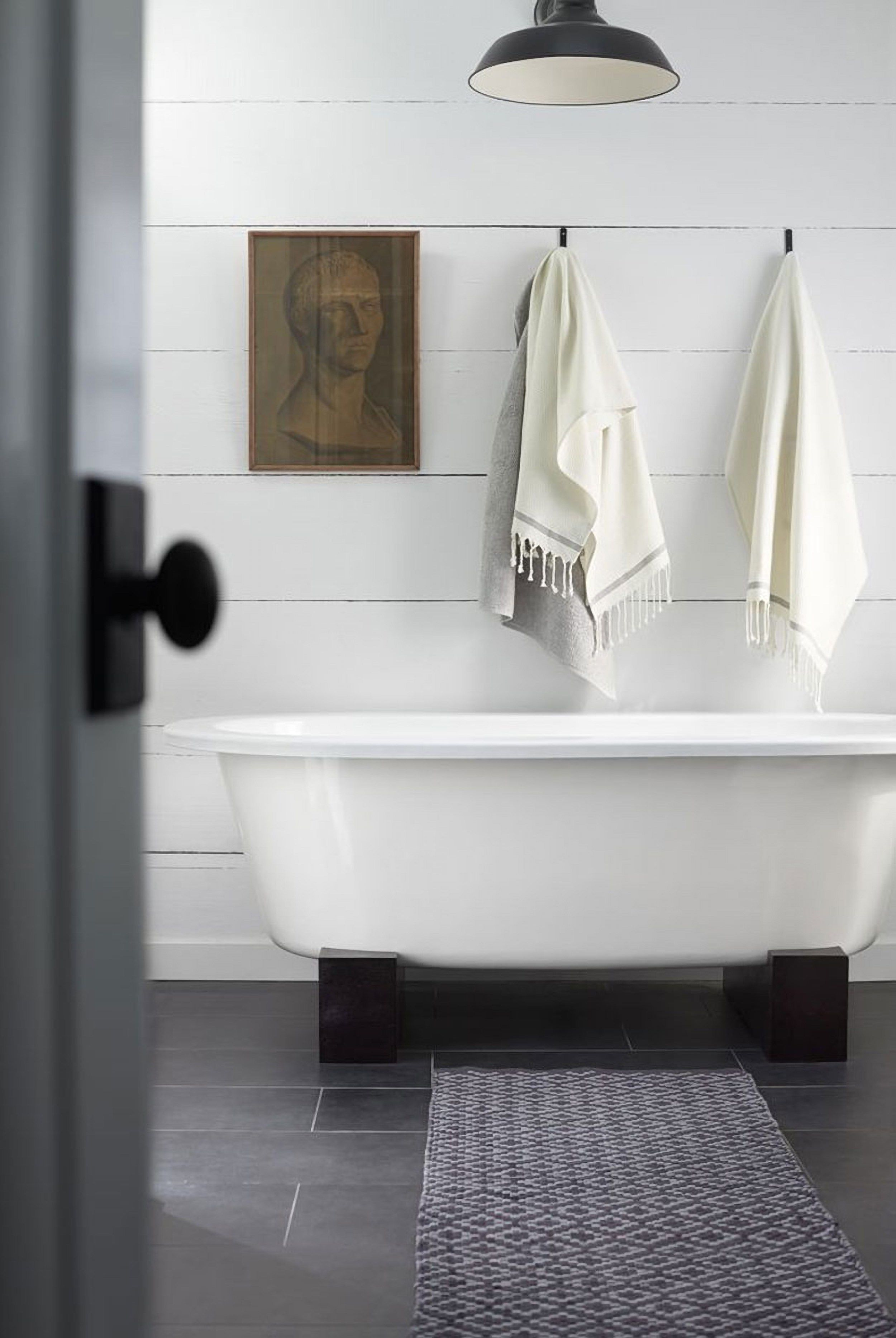 Modern Farmhouse Bathroom With Freestanding Tub