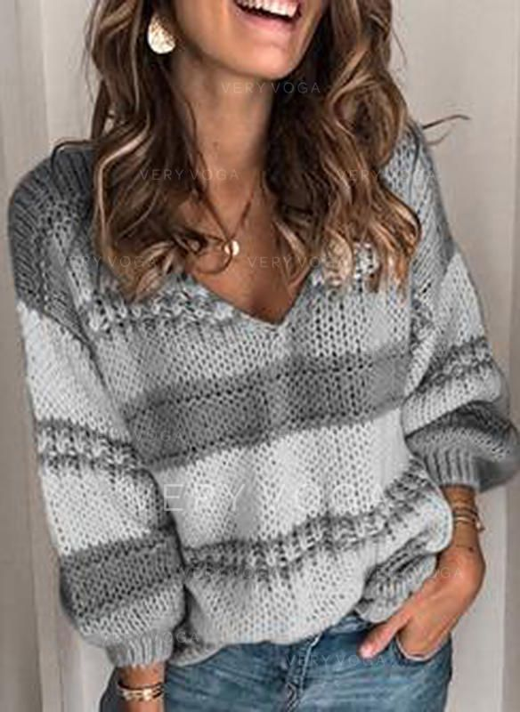 Photo of VERYVOGA Color Block Cable-knit Chunky knit V neck Sweaters –  La mejor imagen s…