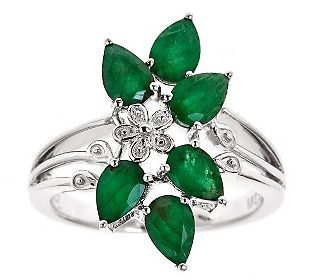 Sterling Silver Pear-Shaped 1.95 ct tw EmeraldCluster Ring | $117.00 #Jewelry #Shine #Sparkle #Bling | Visit WISHCLOUDS.COM for more…