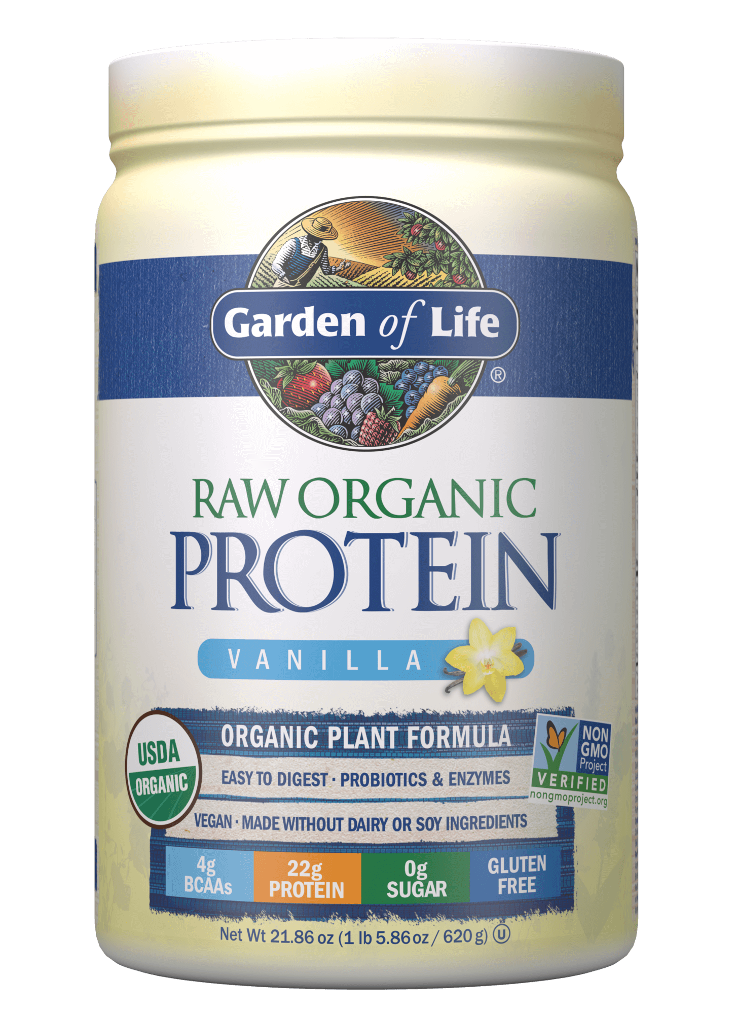 Raw Organic Protein Powder Vanilla 21.86 oz(620 g) in