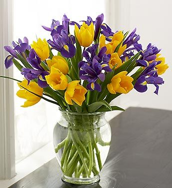 Yellow Tulip And Purple Iris Bouquet Yellow Wedding Bouquet Iris Bouquet Bridal Wedding Flowers